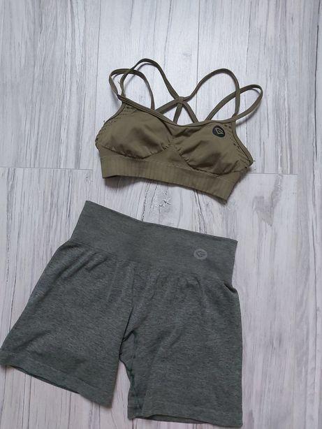 Stanik top gym glamour combat khaki zielony