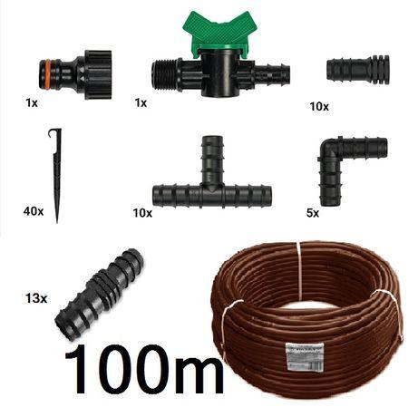 Linia kroplująca 100 metrów wąż nawadniający brązowy 80 gratisów 40cm