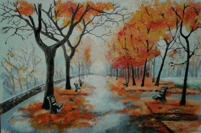 """Картина """"Багрянцевая осень"""", А 4 в рамке, акрил"""