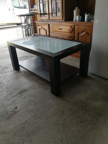 Mesa de centro para sala em madeira e vidro