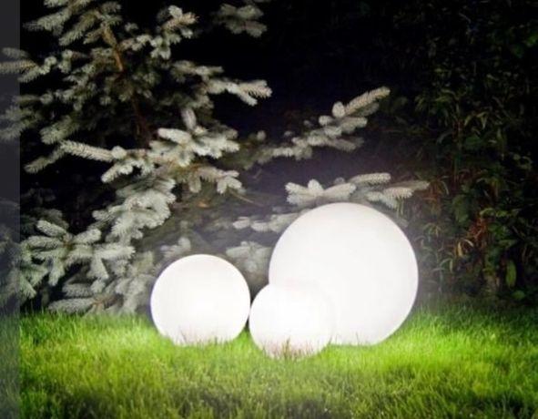 Świecąca kula 40 cm duża świecące kule lampa do ogrodu ogrodowa biala
