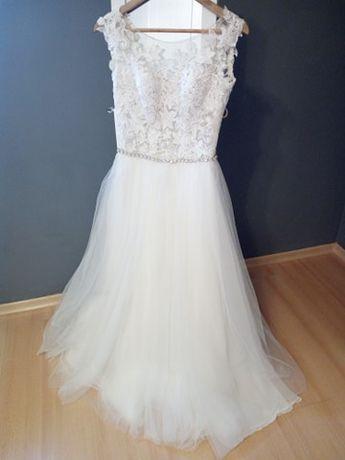 Suknia ślubna ecru koronka tiul rustykalna jedwab