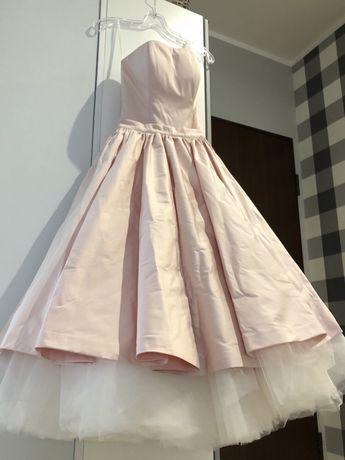 """Sukienka """"baletnica"""" wizytowa, rozm.: 34 (tiul, pudrowy róż)"""