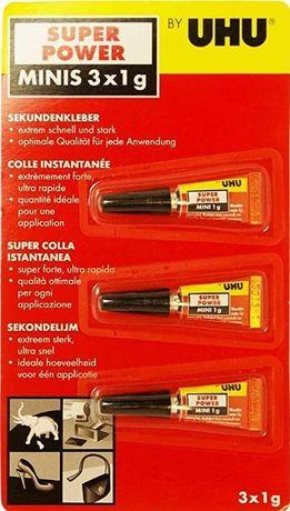 Супер клей Uhu® Super Power Minis 3 тюбика по 1 г. Германия