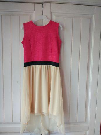Sukienka dla dziewczynki z dłuższym tyłem ok. 140