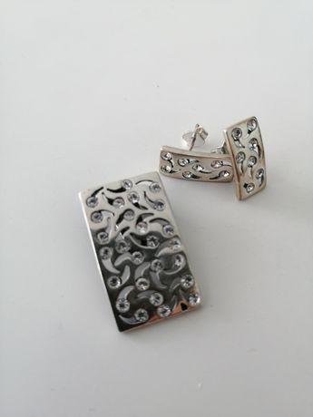 srebrny komplet biżuterii kolczyki zawieszka naszyjnik