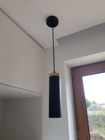 Lampa sufitowa czarna bambus Loft wąska komplet 3 szt. Jak nowe