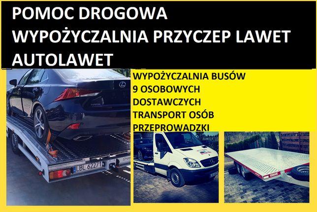 PomocDrogowa Holowanie AutoPomoc WYNAJEM Bus 9Osobowe Autolaweta lawet