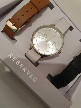 RESERVED Zegarek wymienne paski 3 sztuki brąz czarny biały ZESTAW nowy