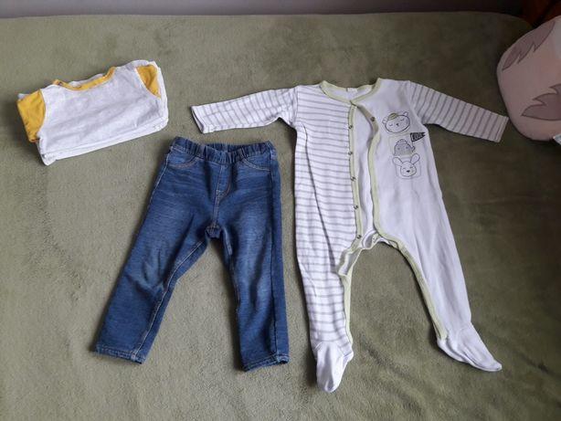 Ubranka r. 80 bluzki z długim rękawem pajacyk spodnie