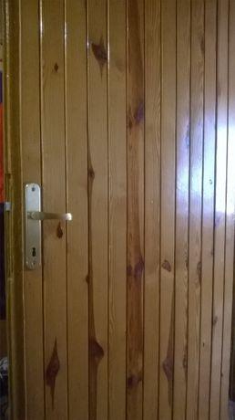 Drzwi drewniane + boazeria nowa klamka 90 L