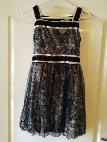 Sukienka różowo-czarna z tiulem i kwiatkami COOL CLUB 146