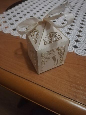 Upominki dla gości, pudełeczka na cukierki, opakowania ślubne 100szt