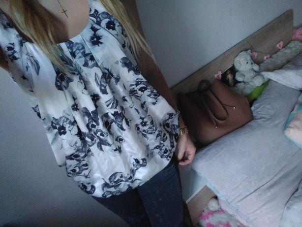 Bluzka elegancka w kwiaty kwiatki XS s h&m elegancka biała czarna