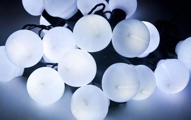 lampki led zewnętrzne kule białe święta 20 szt