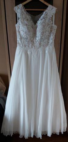 Suknia ślubna plus futerko