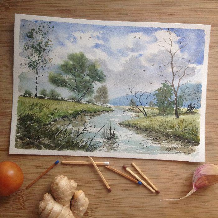 Obraz akwarela do salonu rzeka cisza pejzaż dekoracja domu ozdoba art Tarnów - image 1