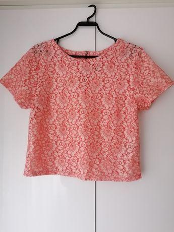 Crop top krótka bluzka koronkowa koralowa różowa rozmiar 36 S 38 M