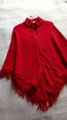 Sweterkowe ponczo rozsuwane czerwone etno vintage one size