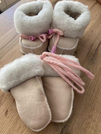 Komplet goralski zimowy buciki zima niechodki 18-19 rekawiczki