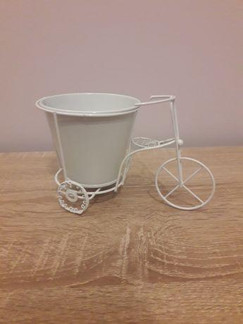 Dekoracja mini rowerki z metalu rower biały na kwiatki ślub wesele