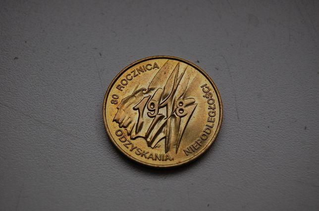 Moneta 2 zł 80 rocznica odzyskania niepodległości. Rok 1998.