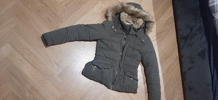 zimowa ocieplana kurtka khaki z kapturem z futerkiem Zara Łódź - image 1