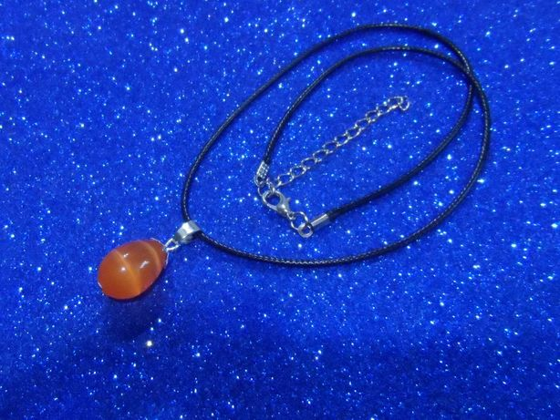 Подвеска-Кошачий глаз(оранжевый) на шнурке
