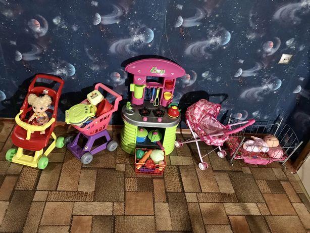 Игрушки кухня коляски кроватка пупсы мягкие игрушки