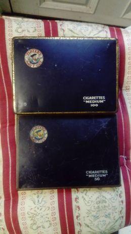 Пара винтажных жестяных коробок на 50 и 100 сигарет Player's Navy Cut+