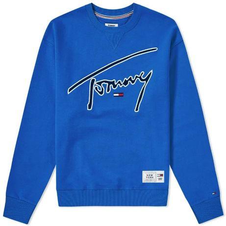 Nowa bluza Tommy Jeans logo box niebieska blue hoodie kenzo superdry