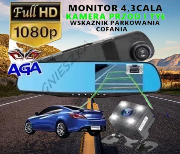 """WideoRejestrator Jazdy 4,3""""FULL HD + Kamera Cofania Podświetlana"""