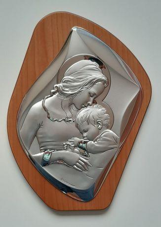 Ikona, srebrny obrazek z Maryją, prezent