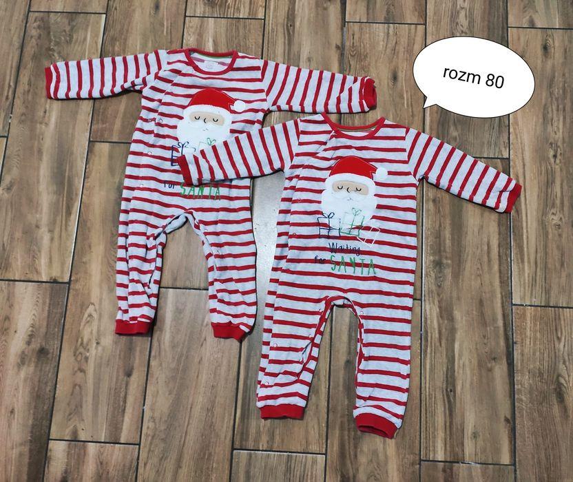 Pajace ciepłe świąteczne rozm 80 bliźniaki bliźniaczki Kościan - image 1