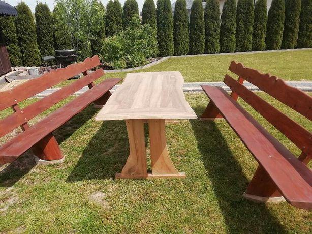 Stół ławki komplet ogrodowy drewniany sosna orzech okazyjnie sprzedam