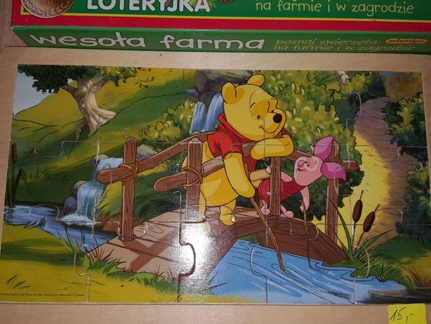 Puzzle drewniane i inne: Puchatekx2, Elsa, Masza, farma, podwodne