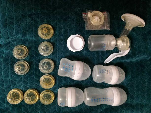 Laktator ręczny AVENT, suszarka do butelek + butelki i smoczki gratis