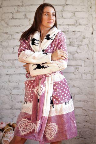 Халат женский, стильный, красивый, теплый на запах, хит продаж