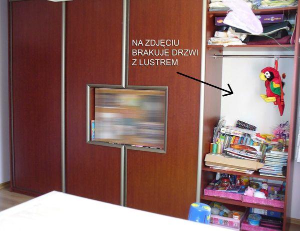 Szafa przesuwna z lustrem i wnęką na telewizor, 2 szuflady Wiśnia