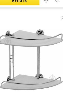 Новая, в упаковке ,полочка для ванной,ARINO ,стекло,сталь.