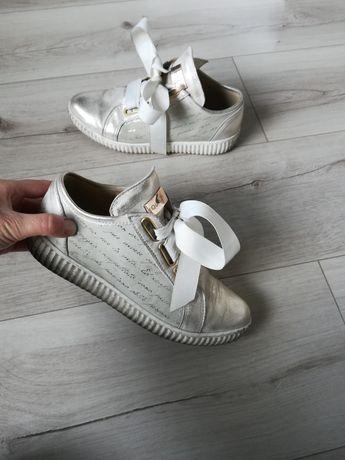 Botki sneakersy buty trampki 36 skóra naturalna skórzane beż złote but