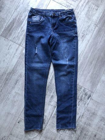 Подростковые джинсы высокая талия посадка с необработаным низом