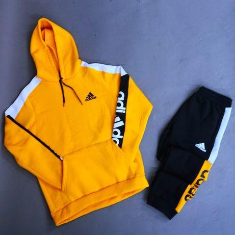 Теплый Спортивный Костюм Adidas НА ФЛИСЕ Желтый