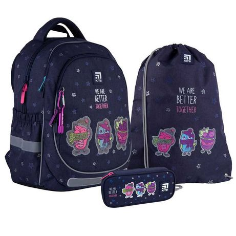 Школьный набор рюкзак + пенал + сумка Kite Better together K21-700M-2