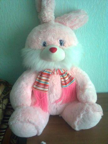Мягкая игрушка большой, пушистый Розовый заяц