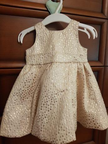 Sukienka niemowlę 3-6 miesięcy złota nowa na wyjątkowe okazje chrzest