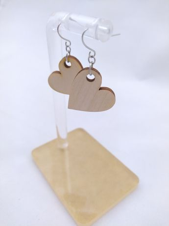 Drewniane serca stal szlachetna kolczyki wiszące handmade