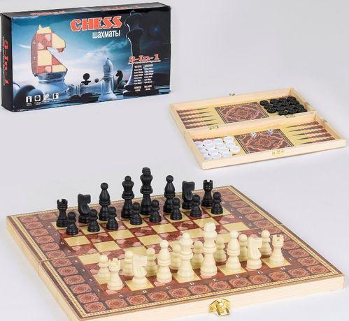 Шашки, нарды, шахматы, С 36819, 3в1, дерево, игра настольная