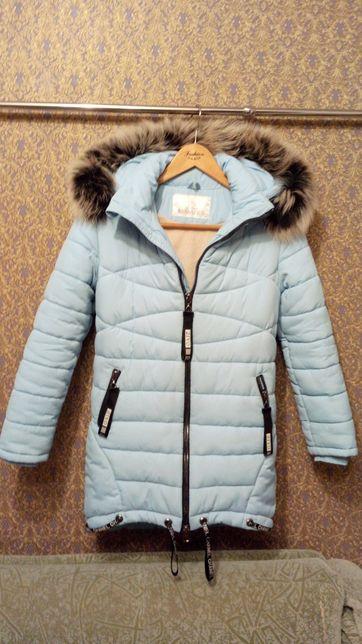 Зимняя куртка, зимние пальто Barbaris с натуральной опушкой. Р 140 см