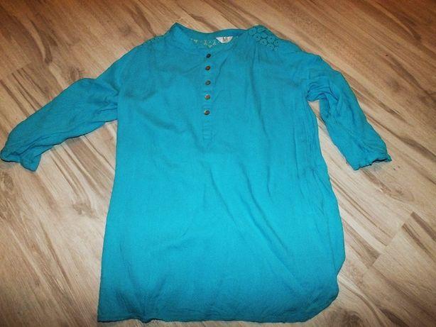 Turkusowa koszula z koronką luźna38 M